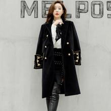 设计师vi创英伦宫廷tb中长式毛呢外套帅气貂绒呢子大衣女装冬