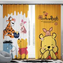 窗帘门vi窗帘宝宝房tb室(小)清新棉麻窗帘亚麻全遮光挂钩式维尼