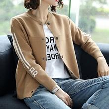 A 休vi外套女短式li新式韩款毛衣针织开衫宽松时尚(小)外套女上
