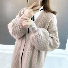 慵懒风vi织开衫女中li020春秋季新式韩款女装宽松百搭毛衣外套