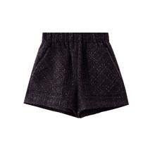 JIUviIU短裤女la0冬季新式黑色阔腿裤百搭高腰花苞裤显瘦外穿靴裤