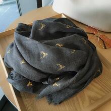 烫金麋vi棉麻围巾女la款秋冬季两用超大披肩保暖黑色长式
