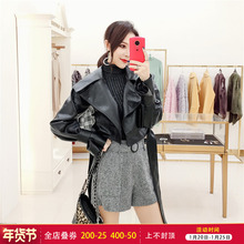 韩衣女vi 秋装短式la女2020新式女装韩款BF机车皮衣(小)外套