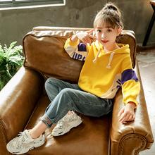 女童套装春装2021新款韩款儿童vi13时髦卫iz牛仔裤两件套潮