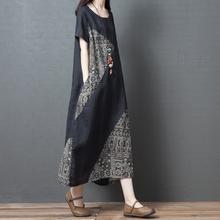 202vi夏季新式宽ax女装文艺复古拼接棉麻短袖连衣裙显瘦长裙子