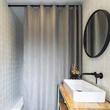 日式仿vi麻浴室卫生kv浴帘隔断免打孔加厚防水布防霉挂帘套装