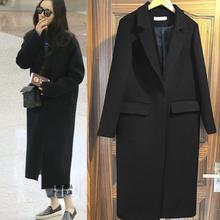 明星同式黑色茧型羊绒呢vi8大衣西装la约中长式羊毛呢外套女