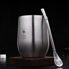 创意隔vi防摔随手杯al不锈钢水杯带吸管家用茶杯啤酒杯