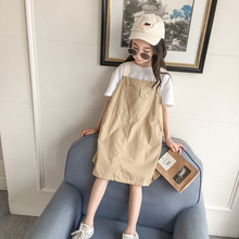 女童背vi裙夏季20lc式中大童洋气时髦无袖吊带裙宝宝夏装连衣裙