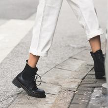 柒步森vi薄式牛皮马lc2020夏季新式圆头平底英伦风侧拉链短靴