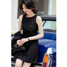芝美日vi 倾心之作lc毛修身黑色连衣裙优雅气质OL职业休闲