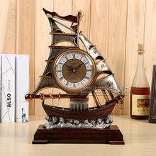 新式一vi风顺客厅座tu帆船座钟时尚家用摆件钟表田园台式时钟