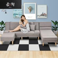 懒的布vi沙发床多功tu型可折叠1.8米单的双三的客厅两用