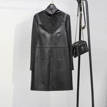 202vi秋冬新式黑an皮吊带连衣裙短裙两件套内搭打底衫有大码