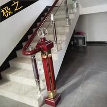 楼梯扶vi栏杆护栏栏ri钢立柱阳台立柱-钢木挂玻璃型-Q式