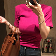 现货~vi国2021ri式显胸纯色圆领纯棉短袖T恤女半袖 黑白玫红