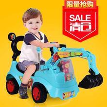 宝宝玩具车挖掘vi4宝宝可坐ri号电动遥控汽车勾机男孩挖土机
