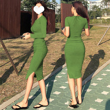 性感紧vi包臀连衣裙ri显瘦长袖褶皱中长式内搭打底t恤长裙秋