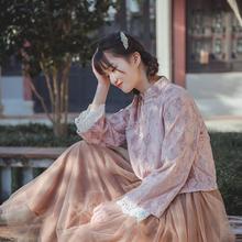 古风上衣民国少女式时尚中国风vi11袍短式ia意文艺长袖茶服