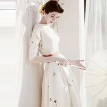 欧洲站vj021春夏qh秀新式高端女装优雅气质修身白色印花连衣裙