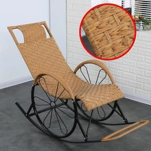 北欧金vj摇椅大的靠qx编老头老的椅子竹编成的椅沙发椅躺椅