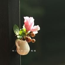 中国风vj瓷插花磁性rh瓶家居装饰贴吸铁石创意强力磁贴
