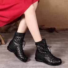 头层牛vj软底镂空短sk坡跟女凉靴洞洞鞋夏季中跟透气罗马女靴