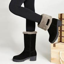 雪地靴vn式中筒靴韩ma保暖学生短靴粗跟加厚底防滑棉靴子两穿