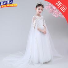 宝宝拖vn礼服公主裙ma童夏季连衣裙白色纱裙主持弹