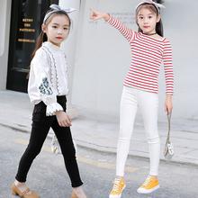 女童裤vo春秋薄式加ka白色黑宝宝牛仔紧身弹力(小)脚打底铅笔裤