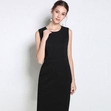 黑色打底职业西装背vo6无袖坎袖le长款大码女法款气质(小)黑裙