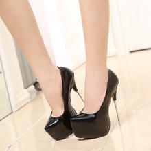 欧美新vo0防水台车ac天高高跟鞋女细跟16cm公主超高跟单鞋潮
