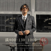 SOAvoIN英伦风do排扣西装男 商务正装黑色条纹职业装西服外套
