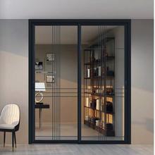 北京铝镁合金推拉门双层钢化玻璃隔vo13门客厅tf轨三联动门