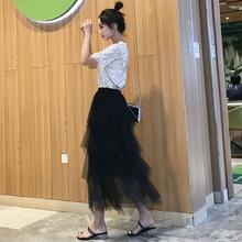 黑色网vo半身裙蛋糕tf2021春秋新式不规则半身纱裙仙女裙