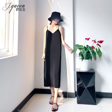 [votre]黑色吊带连衣裙女夏季性感
