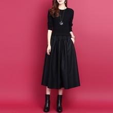 韩款拼vp假两件中长py裙2020秋冬纯色显瘦打底裙羊毛针织裙女