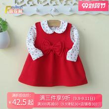0-1vw3岁(小)童女om装红色背带连衣裙两件套装洋气公主婴儿衣服2