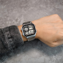 insvx复古方块数fd能电子表时尚运动防水学生潮流钢带手表男