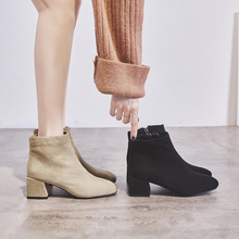 鞋夫的vy头中跟短靴if季靴子女2020新式ins网红瘦瘦靴低跟潮