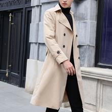 秋季男vy韩款中长式xn衣青年英伦风宽松长式男大衣休闲外套