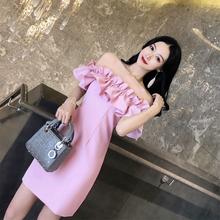 泰国潮牌2021新款度假抹胸一w312领漏背2d感连衣裙女