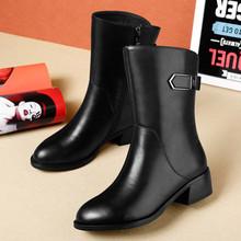 雪地意wa康新式真皮ic中跟秋冬粗跟侧拉链黑色中筒靴