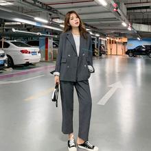 chiwa(小)西装外套ic韩款宽松bf气质正装大学生休闲西服两件套装