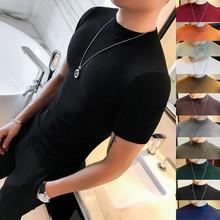 秋冬男wa修身短袖Tic紧身半高领针织衫时尚男纯色中领打底衫
