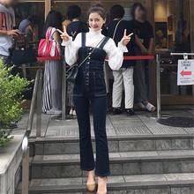 韩国2wa20春秋季la仔背带裤长裤宽松显瘦(小)喇叭裤连体裤潮女装