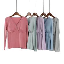 莫代尔wa乳上衣长袖un出时尚产后孕妇喂奶服打底衫夏季薄式
