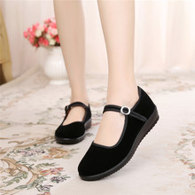 老北京wa鞋女鞋单鞋ma作鞋女黑酒店上班鞋平底跳舞防滑