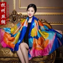 真丝丝wa女超大百搭ga式洋气时尚纱巾妈妈式披肩冬