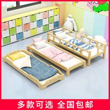 幼儿园wa用床托管班ga简易午睡床宝宝实木叠叠床多功能护栏床